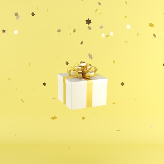 White gift box with yellow color ribbon on yellow color background