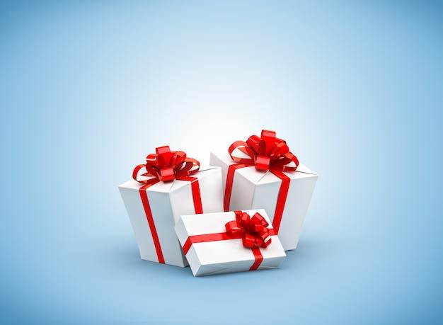 파란 벽에 빨간 리본이 달린 흰색 선물 상자