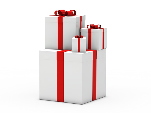 White gift boxes with red ribbon