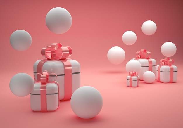 White gift boxes with rose pink bow on pink background with white balloons d illustration