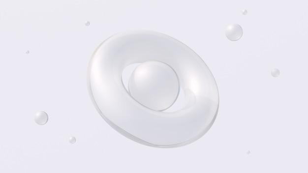 白いガラスの幾何学的形状。抽象的なイラスト、3dレンダリング。