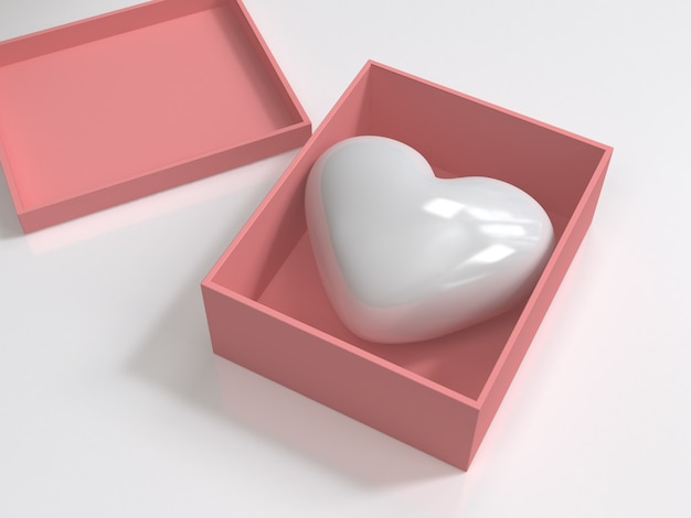 Белое глянцевое сердце в розовой коробке 3d-рендеринга