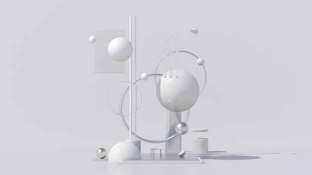 Белое глянцевое металлическое стекло геометрические формы белый фон абстрактная иллюстрация 3d визуализации
