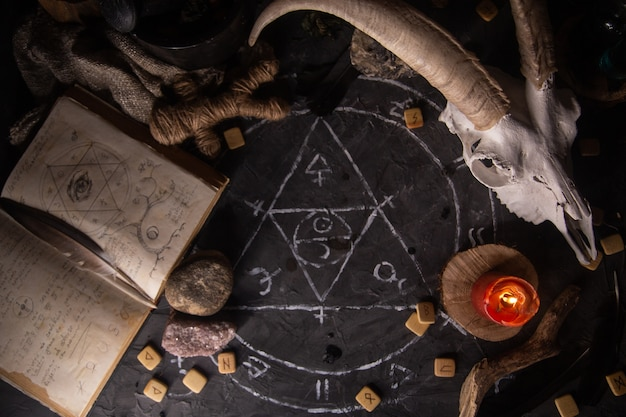 White goat scull with horns, open old book with magic spells, runes, candles and herbs on witch table, flat lay