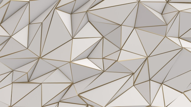 White and gold abstract low poly triangle background