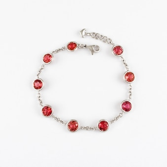 White gold bracelet with red ruby gemstone