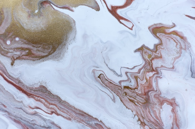 White gold copper and grey ripple pattern marble abstract light texture with gold particles