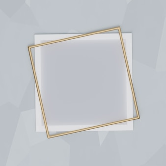 White and gold frame on a gray background. for presentations, mockups, 3d render