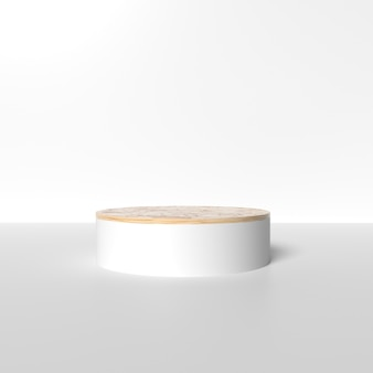 White gold podium for product placement with ceramic texture