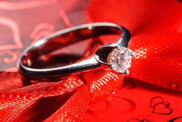 White gold ring on the red box