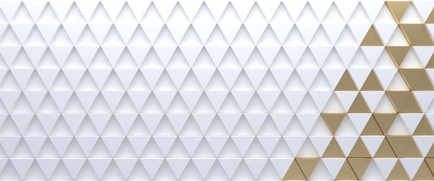 White and gold tiled triangular abstract background. extruded triangles surface. 3d render.