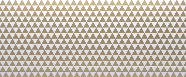 White and gold tiled triangular geometric background. extruded triangles surface. 3d.