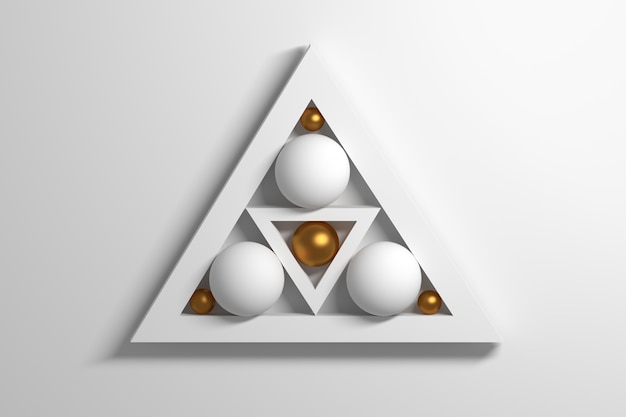 White golden geometric shapes triangles and balls