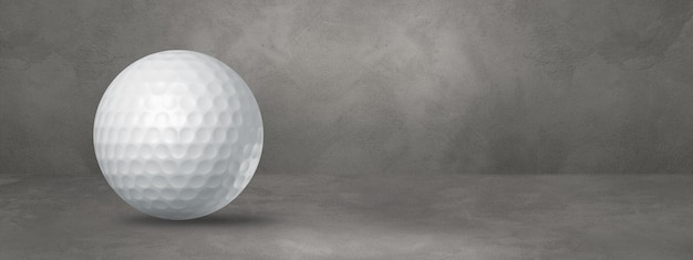 White golf ball isolated on a concrete background. 3d illustration