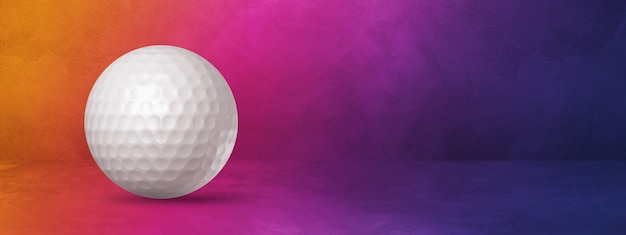White golf ball isolated on a purple gradient  . 3d illustration