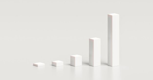 Белый график диаграммы 3-й элемент дизайна иллюстрации бизнес-презентации диаграммы графической концепции изолирован на белом фоне с отчетом значка данных инфографики пустого роста и современным символом.