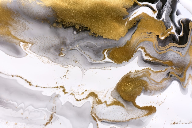 White gray and black ripple pattern marble abstract texture with gold particles