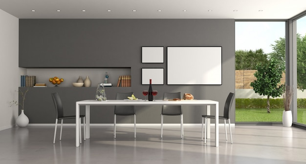 White and gray minimalist dining room