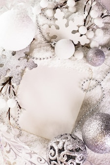 White greeting card for merry christmas and happy new year