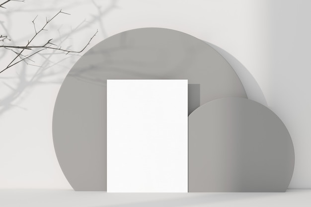 White greeting card standing on table background. 3d rendering.