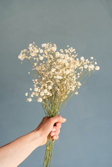 White gypsophila flowers in woman's hand on blue background