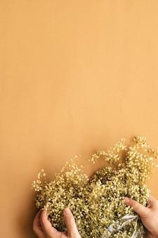柔らかいクリーミーな茶色の背景に白いカスミソウの花束