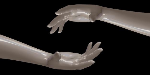흰색 손을 함께 연동 블랙