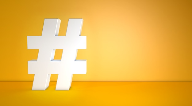 White hashtag on orange background with copy space