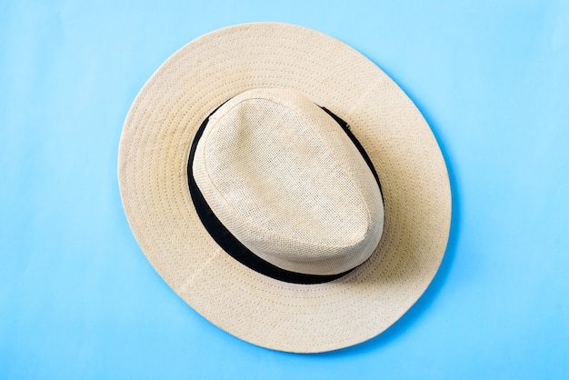 White hat with top view flat lay