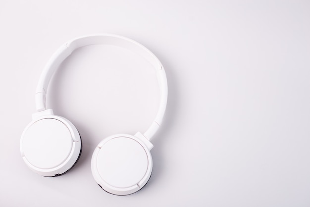 White headphones isolated on white background