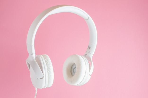 White headphones. music concept.