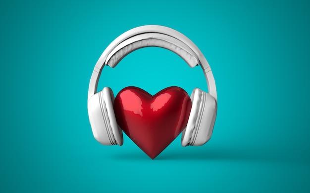 Белые наушники со знаком красного сердца посередине на настраиваемом цветовом фоне, 3d визуализация