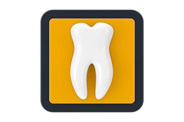 흰색 바탕에 터치포인트 웹 아이콘 버튼으로 흰색 건강한 치아. 3d 렌더링