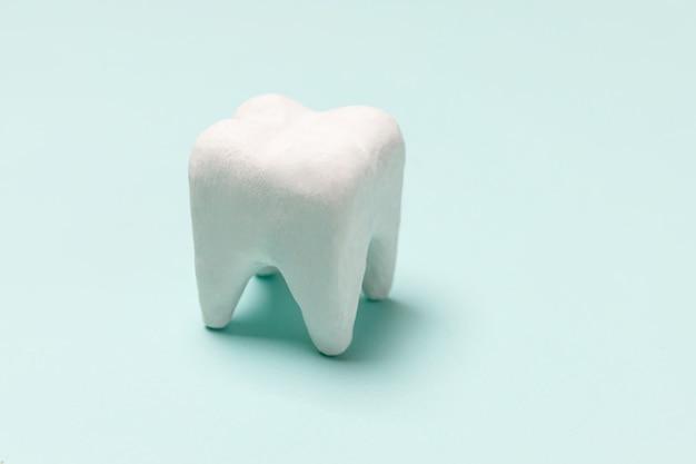 パステルブルーの背景に分離された白い健康な歯モデル