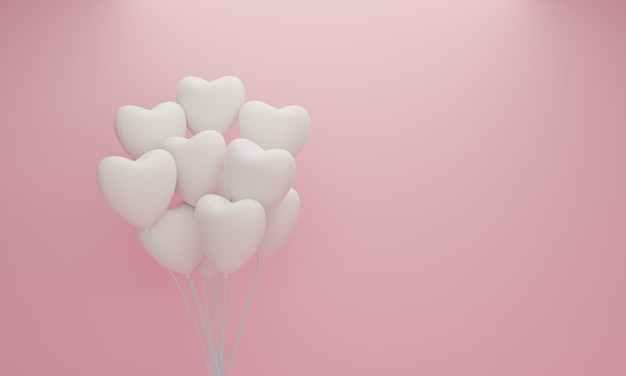 White heart balloon on pink pastel background. valentine concept. 3d rendering