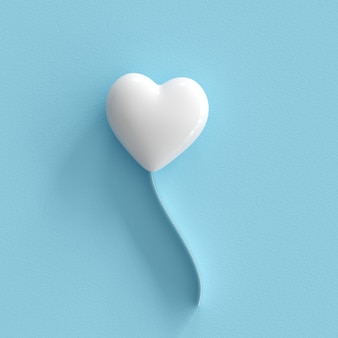 White heart on blue background. minimal valentine concept idea.