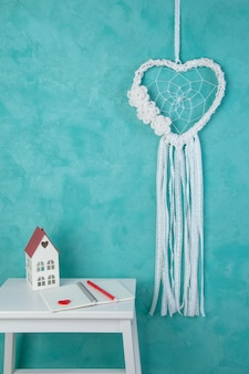 White heart lace dream catcher