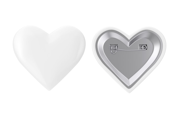 Белые значки булавки сердца на белой предпосылке. 3d рендеринг