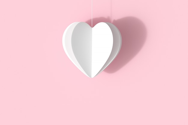 White heart shape on pink pastel background.  minimal valentine concept idea.
