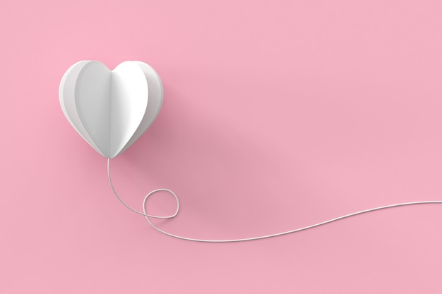 White heart shape with line on pink pastel background.  minimal valentine concept idea.