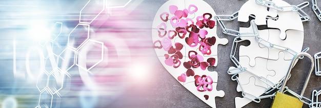 흰색 하트 모양의 퍼즐입니다. 심장 문제. 나누지 못한 사랑. 상한 마음. 마음의 열쇠. 자물쇠에 닫힌된 마음입니다. 사랑의 개념입니다.