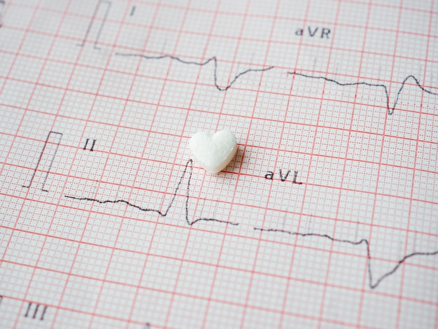 White heart-shaped tablet on paper ecg results. medical cardiological pill in the shape of a heart. the drug for restoring health. medical and healthcare concept.