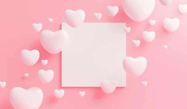 White heart with blank frame on pink background with copy space 3d render