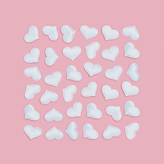 핑크 폰에 사각형 모양으로 새겨진 화이트 하트. 발렌타인 데이 대 한 휴일 배경입니다. 사랑 개념.