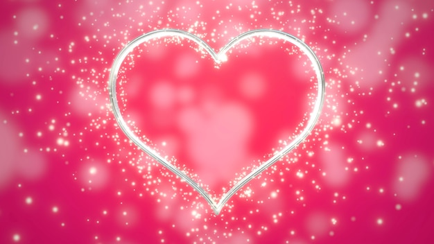 White hearts of love with glitters, red wedding background. elegant and luxury pastel 3d illustration style