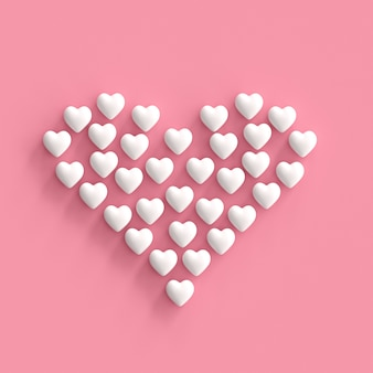 White hearts made form heart on pink background. minimal valentine concept idea.