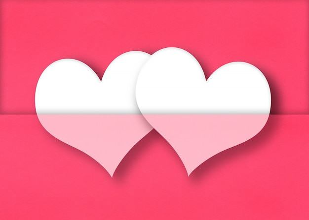 White hearts on a red paper background.