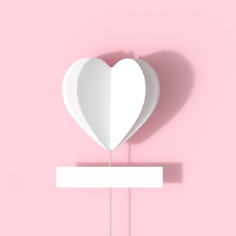 White hearts shape on pink background for copy space. minimal valentine idea concept.