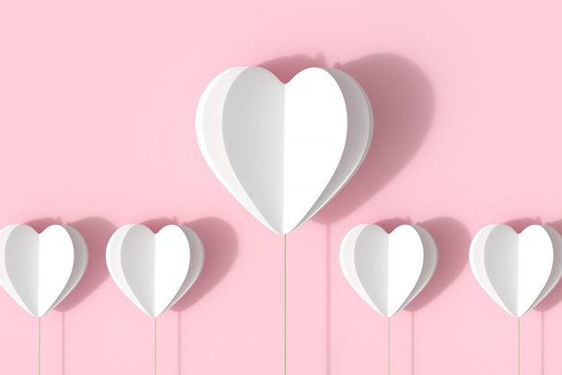 White hearts shape on pink pastel background.  minimal valentine concept idea.