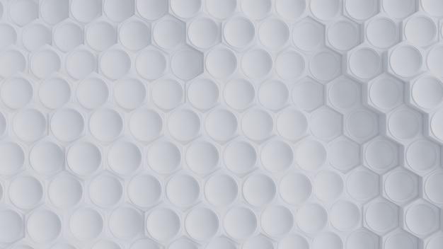 White hexagon 3d rendering background